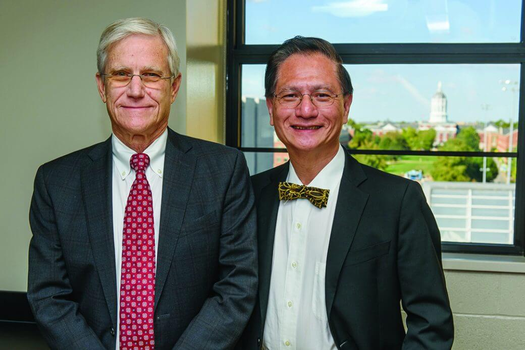 Edward T.H. Yeh, MD, (right) is known internationally as a leader in the field of onco-cardiology, which focuses on providing personalized cardiac care to cancer patients. He was recruited to MU by cardiology researcher Patrick Delafontaine, MD, Hugh E. and Sarah D. Stephenson Dean of the MU School of Medicine.