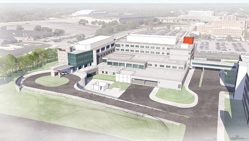 Rendering of Missouri Orthopaedic Institute addition