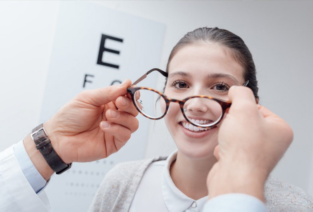 photo of woman at eye doctor