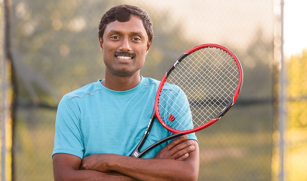 Dr. Chockalingam plays tennis for stress relief