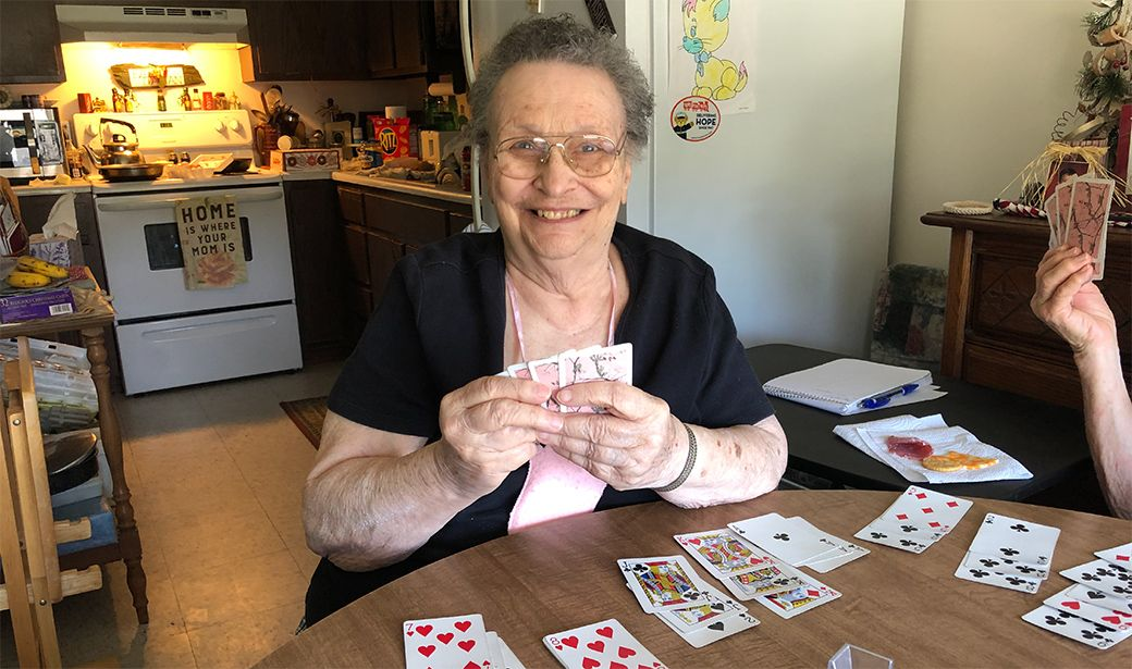 Mary playing cards