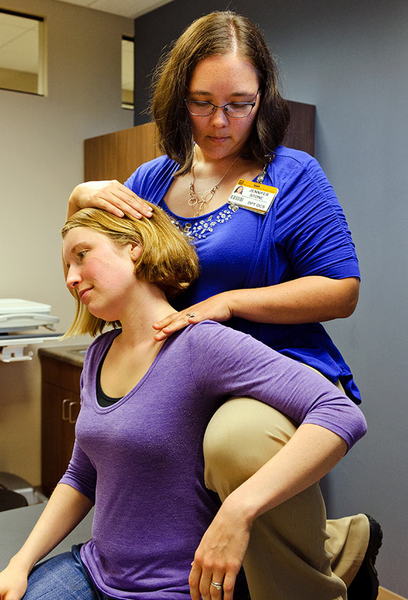 After giving birth to her son in February 2014, Carrie Clark, 30, of Columbia couldn't alleviate her neck and back pain. When at Mizzou Therapy Services-Rangeline for physical therapy, she began talking to Jennifer Stone, DPT, OCS, about her pelvic pain, too.