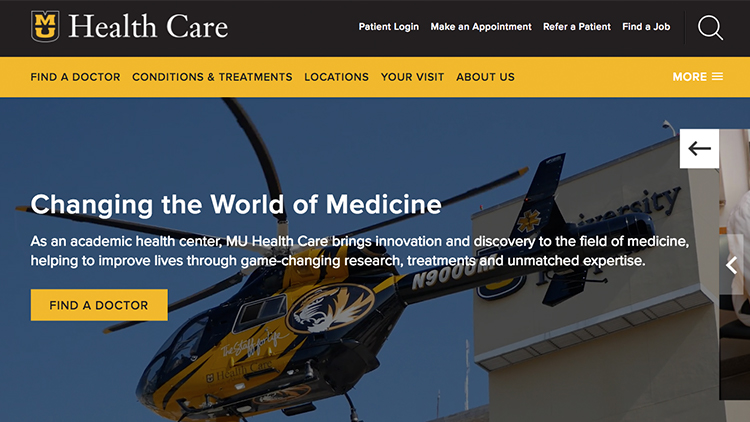 Photo of the muhealth.org homepage.