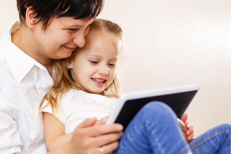 Telehealth mom and kid tablet ipad