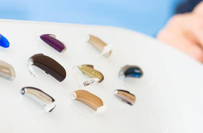 Photo of variety of hearing aids.