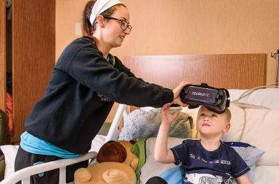 Virtual reality headsets help patients at MU Health Care's Children's Hospital.