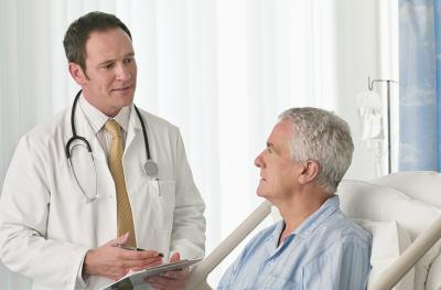 Gentleman in recovery with doctor
