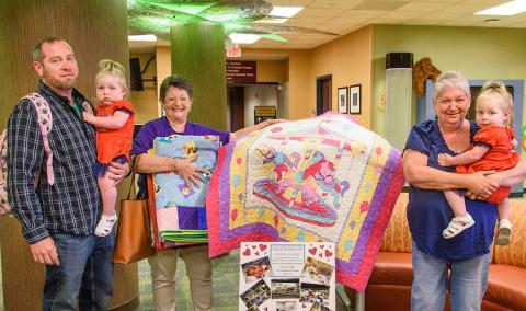 quilt donation at Children's Hospital