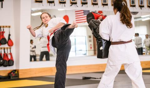Natalie Feibish at the Rifkin Professional Karate Center in Columbia