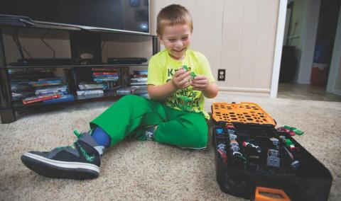 Ely Hamilton, 4, plays at his home in Aurora, Missouri.