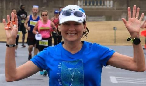Karen in a marathon in Little Rock