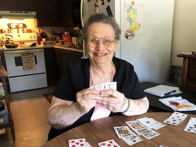 Bevier woman plays cards with her sisters