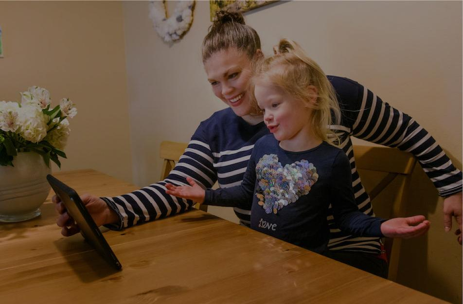 Photo of mother and daughter on Telehealth call